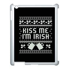 Kiss Me I m Irish Ugly Christmas Black Background Apple iPad 3/4 Case (White)