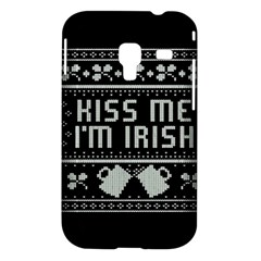 Kiss Me I m Irish Ugly Christmas Black Background Samsung Galaxy Ace Plus S7500 Hardshell Case