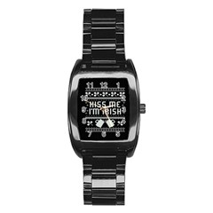 Kiss Me I m Irish Ugly Christmas Black Background Stainless Steel Barrel Watch