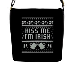 Kiss Me I m Irish Ugly Christmas Black Background Flap Messenger Bag (L)