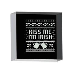 Kiss Me I m Irish Ugly Christmas Black Background 4 x 4  Acrylic Photo Blocks