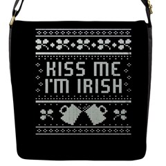 Kiss Me I m Irish Ugly Christmas Black Background Flap Messenger Bag (S)