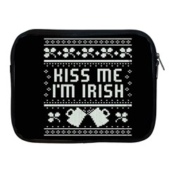 Kiss Me I m Irish Ugly Christmas Black Background Apple iPad 2/3/4 Zipper Cases