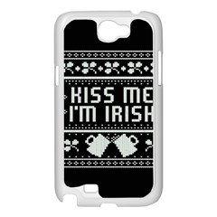 Kiss Me I m Irish Ugly Christmas Black Background Samsung Galaxy Note 2 Case (White)