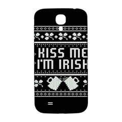 Kiss Me I m Irish Ugly Christmas Black Background Samsung Galaxy S4 I9500/I9505  Hardshell Back Case