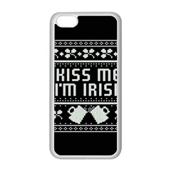 Kiss Me I m Irish Ugly Christmas Black Background Apple iPhone 5C Seamless Case (White)