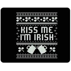 Kiss Me I m Irish Ugly Christmas Black Background Double Sided Fleece Blanket (Medium)