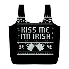 Kiss Me I m Irish Ugly Christmas Black Background Full Print Recycle Bags (L)