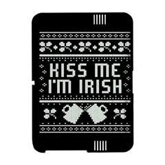 Kiss Me I m Irish Ugly Christmas Black Background Amazon Kindle Fire (2012) Hardshell Case