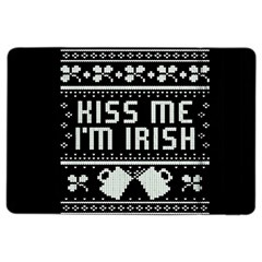 Kiss Me I m Irish Ugly Christmas Black Background iPad Air 2 Flip