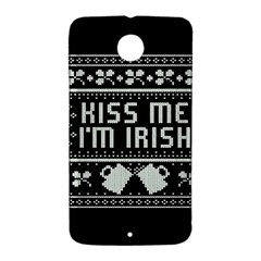 Kiss Me I m Irish Ugly Christmas Black Background Nexus 6 Case (White)