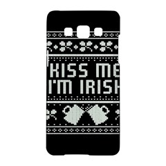Kiss Me I m Irish Ugly Christmas Black Background Samsung Galaxy A5 Hardshell Case