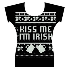 Kiss Me I m Irish Ugly Christmas Black Background Women s Cap Sleeve Top