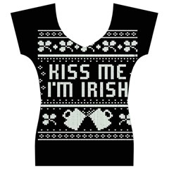 Kiss Me I m Irish Ugly Christmas Black Background Women s V-Neck Cap Sleeve Top