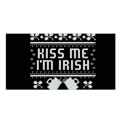 Kiss Me I m Irish Ugly Christmas Black Background Satin Shawl