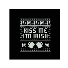 Kiss Me I m Irish Ugly Christmas Black Background Small Satin Scarf (Square)