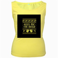 Kiss Me I m Irish Ugly Christmas Blue Background Women s Yellow Tank Top