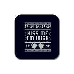 Kiss Me I m Irish Ugly Christmas Blue Background Rubber Square Coaster (4 pack)