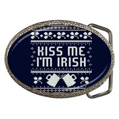 Kiss Me I m Irish Ugly Christmas Blue Background Belt Buckles