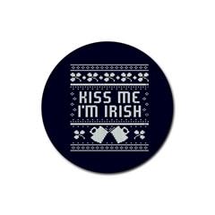 Kiss Me I m Irish Ugly Christmas Blue Background Rubber Coaster (Round)