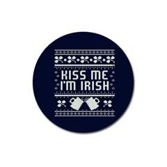 Kiss Me I m Irish Ugly Christmas Blue Background Magnet 3  (Round)