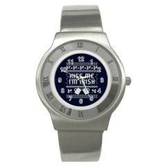 Kiss Me I m Irish Ugly Christmas Blue Background Stainless Steel Watch