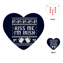 Kiss Me I m Irish Ugly Christmas Blue Background Playing Cards (Heart)
