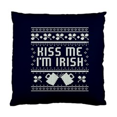 Kiss Me I m Irish Ugly Christmas Blue Background Standard Cushion Case (Two Sides)