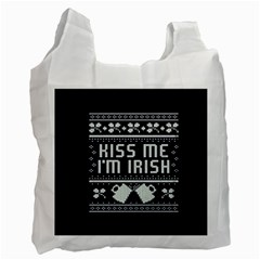 Kiss Me I m Irish Ugly Christmas Blue Background Recycle Bag (one Side)