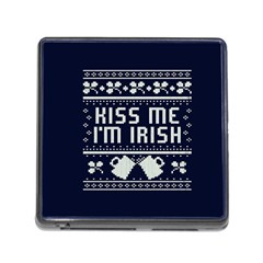 Kiss Me I m Irish Ugly Christmas Blue Background Memory Card Reader (square)