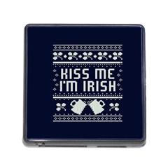 Kiss Me I m Irish Ugly Christmas Blue Background Memory Card Reader (square)