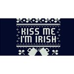 Kiss Me I m Irish Ugly Christmas Blue Background Congrats Graduate 3D Greeting Card (8x4) Front