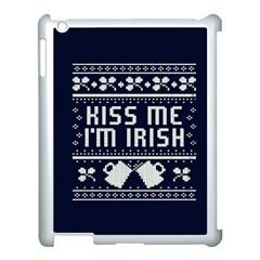 Kiss Me I m Irish Ugly Christmas Blue Background Apple iPad 3/4 Case (White)