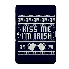 Kiss Me I m Irish Ugly Christmas Blue Background Samsung Galaxy Tab 2 (10.1 ) P5100 Hardshell Case