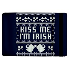 Kiss Me I m Irish Ugly Christmas Blue Background iPad Air Flip