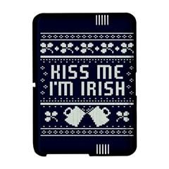 Kiss Me I m Irish Ugly Christmas Blue Background Amazon Kindle Fire (2012) Hardshell Case