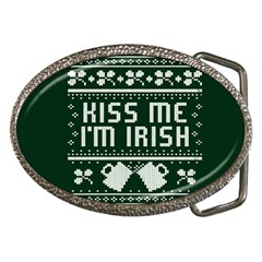 Kiss Me I m Irish Ugly Christmas Green Background Belt Buckles