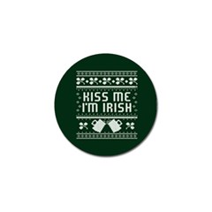 Kiss Me I m Irish Ugly Christmas Green Background Golf Ball Marker (4 pack)