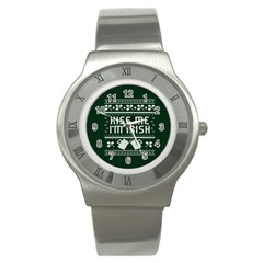 Kiss Me I m Irish Ugly Christmas Green Background Stainless Steel Watch