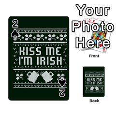 Kiss Me I m Irish Ugly Christmas Green Background Playing Cards 54 Designs
