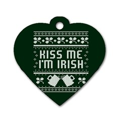 Kiss Me I m Irish Ugly Christmas Green Background Dog Tag Heart (two Sides)