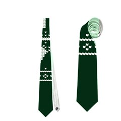 Kiss Me I m Irish Ugly Christmas Green Background Neckties (Two Side)