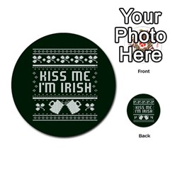 Kiss Me I m Irish Ugly Christmas Green Background Multi-purpose Cards (Round)
