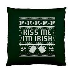Kiss Me I m Irish Ugly Christmas Green Background Standard Cushion Case (one Side)