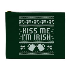 Kiss Me I m Irish Ugly Christmas Green Background Cosmetic Bag (XL)