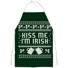 Kiss Me I m Irish Ugly Christmas Green Background Full Print Aprons