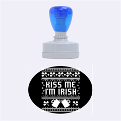 Kiss Me I m Irish Ugly Christmas Green Background Rubber Oval Stamps
