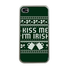 Kiss Me I m Irish Ugly Christmas Green Background Apple iPhone 4 Case (Clear)