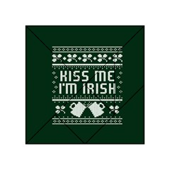 Kiss Me I m Irish Ugly Christmas Green Background Acrylic Tangram Puzzle (4  X 4 )