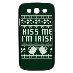 Kiss Me I m Irish Ugly Christmas Green Background Samsung Galaxy S III Case (Black)